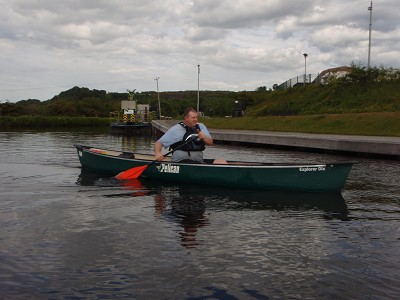 A client (Jim) canoeing at auchenstarry